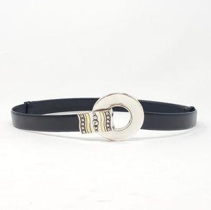 Chico's Statement Buckle Leather Adjustable Belt
